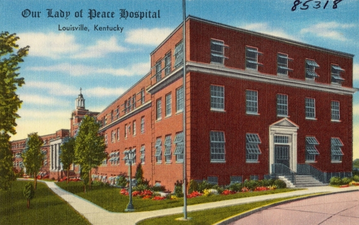 Our Lady of Peace Hospital, Louisville, Kentucky. Tichnor Bros. Inc., Boston, Mass., 1930. Web. 19 Jun 2017. .