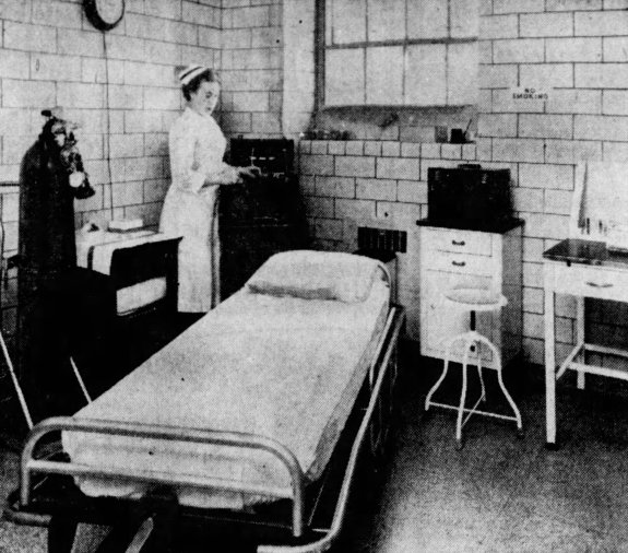 "Registered Nurse, Miss Helen Parrish in the electric shock room of the new outpatient department. Blakeslee, Dennis. ""Lady of Peace opens revamped facilities."" The Courier-Journal, 13 February 1961, p. 13."