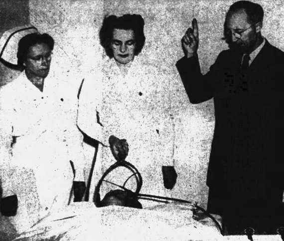 Dr. Owen P. Heninger of Utah State Hospital demonstrated electro-convulsive therapy.