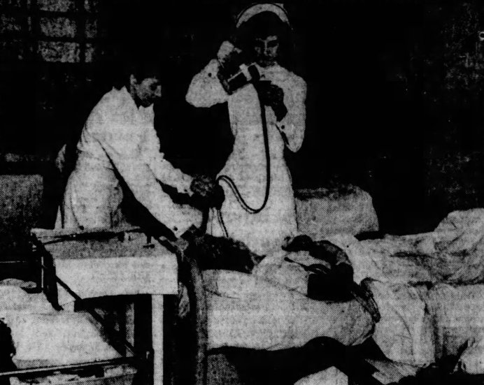 Patient getting insulin shock therapy at Norman Beatty Hospital.
